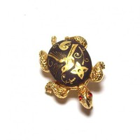 Vintage Damascene Turtle Brooch