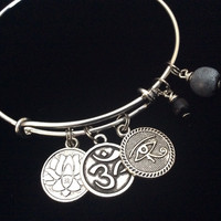 Lotus Om and Eye of Protection Silver Charm Bracelet Adjustable Expandable  Bangle Trendy Yoga Inspired Meaningful Inspirational