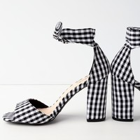 Covington Black and White Gingham Ankle Strap Heels