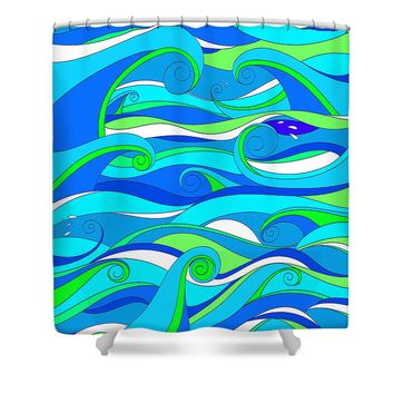 Whimsical Summer Waves Shower Curtain