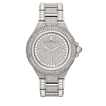 Michael Kors Camille Silver Diamond Pave Dial Crystal Encrusted Women Men Watch Wrist Watch I
