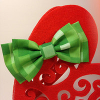 Green pixel Double Bow Hair clip