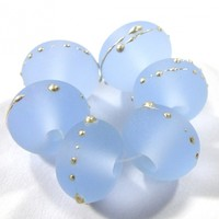 Transparent Pale Blue Handmade Lampwork Glass Beads 050 Shiny (Choices of Etched, .999 Fine Silver, Shapes, Sizes, Large Hole Beads Extra)