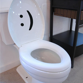 Smiley Face Toilet Seat Decal / Sticker Text Message Icon Funny texting
