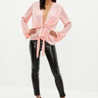 Missguided - Pink Satin Plunge Wrap Blouse