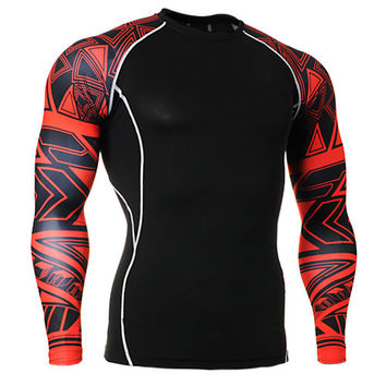 Mens football underwear clothes sleeve printed compression tights base layer sports running soccer  Men Sports Gym clothing tops