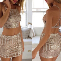 Homecoming Dress, Tight Sequins Mini Two-Piece Party Dresses