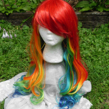 Rainbow Wig, Rainbow Dash wig, MLP, Cosplay, long Rainbow Wig, Long curly, wavy wig, Mulitcolor, side swept Bangs, long bangs, long rainbow