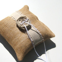 Freyed Edge Linen Burlap Ring Bearer Pillow, Casual Wedding