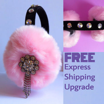 Pink earmuffs, beaded faux fur earmuffs, OOAK ear warmers, plush ear muffs, fluffy earmuffs, OOAK gift for Christmas