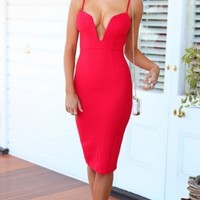 Deep Down Plunge Midi Red Dress