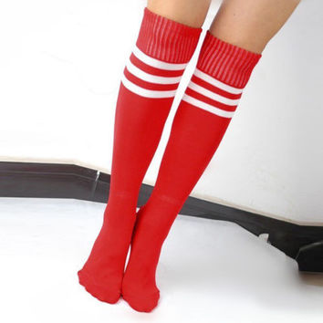 Football Striped Long Tube Tube Socks Soccer Lacrosse Rugby Sport Knee High Red Socks