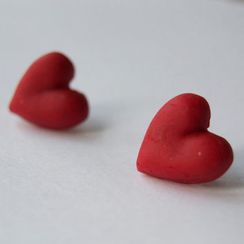 Red heart studs - Recycled earrings - Repurposed polymer clay - Handmade jewelry - Eco friendly and green - Upcycled studs - Valentine's day
