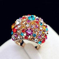 Fashion Exaggerated Ring multicolor Crystals Wide Chunky Cocktail Ring Kpop Punk Cool Rose Gold Color Women Statement Jewelry
