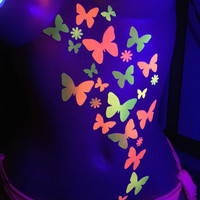 Black light Glow Butterfly and Daisy Body Stickers- Rave Costume-Neon, Butterfly tattoo, reusable sticker, body decor, glow body stickers
