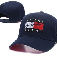 Tommy Jeans Hot Fashionable Boys Girls Embroidery Sports Sun Hat Baseball Cap Hat Dark Blue