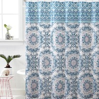 "Royal Bath Blue/Pink Mandala Burst PEVA Non-Toxic Fabric Shower Curtain - 72"" x 72"""