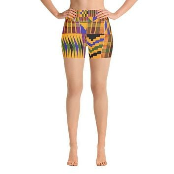 Kente Print Yoga Shorts