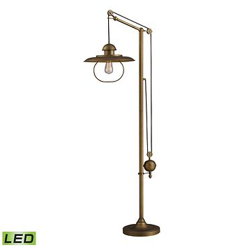 HAMLIN ADJUSTABLE FLOOR LAMP IN ANTIQUE BRASS WITH LED BULB