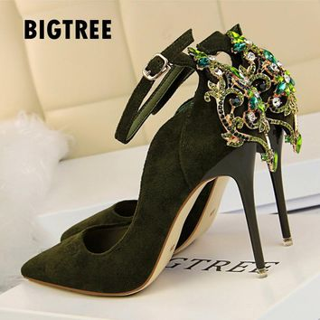 2018 Spring Summer Women pumps Luxury rhinestones wedding bride shoes Fashioon ankle strap high heels Fashion party shoes woman