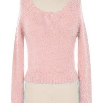 Clueless Generation Fuzzy Crop Sweater in Pink | Sincerely Sweet Boutique