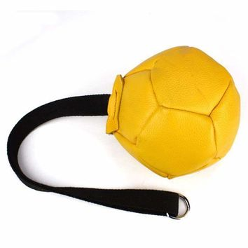 Dog Training Toys Biting Cow Leather Ball Diameter 15cm Dog Trainer