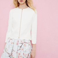 Scallop trim cropped jacket - Ivory | Suits | Ted Baker