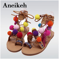Bohemia Style Fringed Pompoms Lady Gladiator Sandals Shoes Cross Strap tie up Women Flats Sandals Fringed Summer shoes size35-41