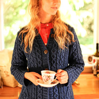 Women's Cable Knit Button Cardigan