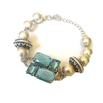 Turquoise Blue Crystal Pendant Bracelet With Lustre Metal Beads And Lobster Claw Clasp