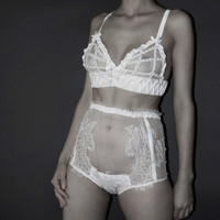 Sheer high waist panties Sheer brief High Brief Handcrafted lingerie Luxury bridal Sheer lace applique lingerie