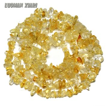 AAA+ Wholesale 5-8 mm Gravel Shape Citrines Yellow Crystal Stone Beads For Jewelry Making DIY Bracelet Necklace Strand 34''