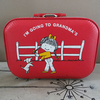 Childs Suitcase Childs Case Small Suitcase Doll Case Vintage Luggage Small Luggage Mini Luggage Red Luggage Storage Case Gift from Grandma