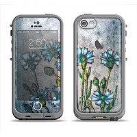 The Watercolor Blue Vintage Flowers Apple iPhone 5c LifeProof Fre Case Skin Set