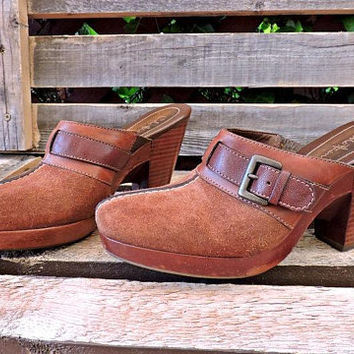 Womens Leather mules 6 B / brown suede / Cole Haan / made in Brazil / high heel / leather clogs / slip ons heels / slides / Boho