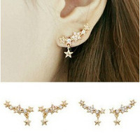 New fashion Exquisite Designed Beautiful Sweet Imitate Pearl Rhinestone Star Earring Clips Women Ear Cuff (Single Price) XY-E576