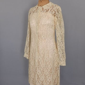 Vintage 1940s Ivory Off White Ecru Lace Dress Sheer Lace Overlay 40s Day Shift Dress Wedding Dress Size Small Medium Hipster Edwardian Dress