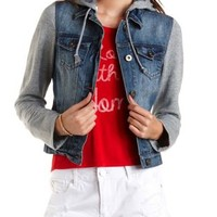 Hooded Denim Vest Jacket by Charlotte Russe