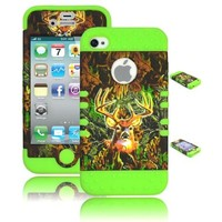 KINGCO 3in1 Real Tree Camo High Impact Armor Defender Case Combo for Apple iPhone 5/5S (Black)