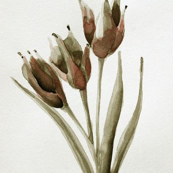FLOWERS - Tulips - Originals Drawings - Ink, charcoal, pencil and acrylic on acid free paper  Sennelier by Cristina Ripper