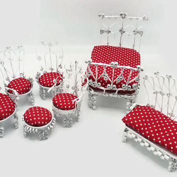 Dollhouse Furniture Tin Can Folk Tramp Art Red White Polka Dot Cushions Seven Piece Set