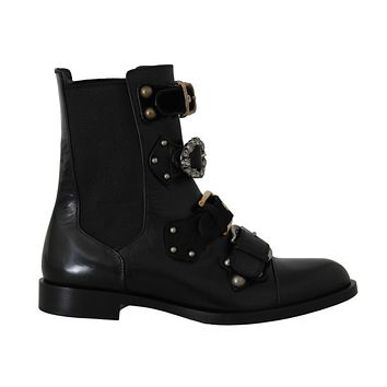 Dolce & Gabbana Black Leather Flats Ankle Boots