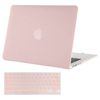 Mosiso Plastic Hard Case with Keyboard Cover Only for MacBook Pro 13 Inch with Retina Display No CD-Rom (A1502/A1425, Version 2015/2014/2013/end 2012), Rose Quartz