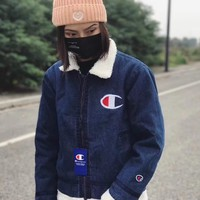Champion Fashion Cashmere Lapel Zipper Denim Jacket Coat