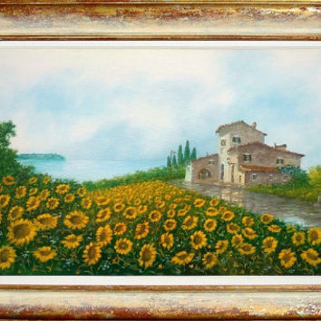 Italian painting Tuscany landscape hill sunflowers oil on canvas with handmade frame of Luciano Torsi - Paesaggio Toscano Italia Italy