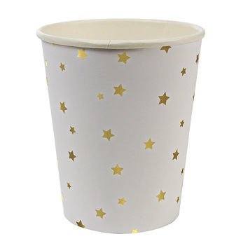 Gold foil star Paper Cups.  Set of 8.  Twinkle Twinkle Little Star party cups. Gold stars.  Party cups.  Gold  paper cups.  Star cups.