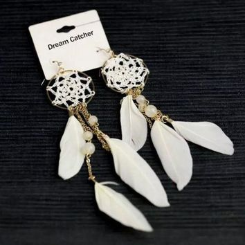 2015 New Ethnic White Coffee Color Feather Beads Long Design Dream Catcher Earrings Bohemia = 1928455940