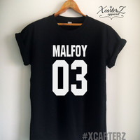 Malfoy Shirt MALFOY03 T-shirt Print on Front or Back Side Unisex Women Men T-shirt White/Black/Grey/Red