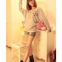 Bat-wing Sleeve Women Long Sleeve Scoop Grey Cotton T-shirt One Size @WH0363g $8.99 only in eFexcity.com.