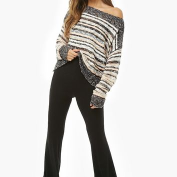 Striped Off-the-Shoulder Sweater-Knit Top